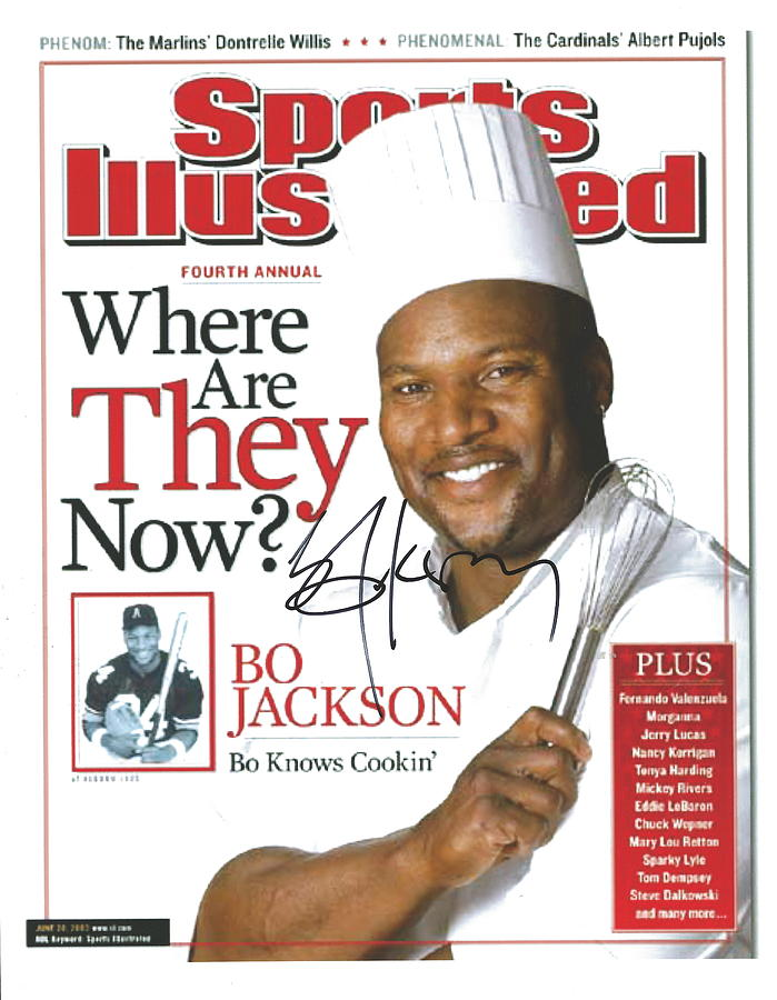 Sports Illustrated Photograph - Autographed Sports Illustrated Cover By Bo Jackson Bo Knows Cookin by Desiderata Gallery