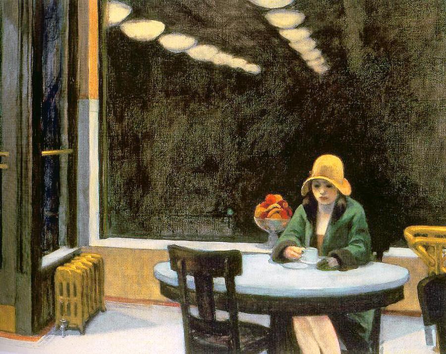 Female Painting - Automat by Edward Hopper