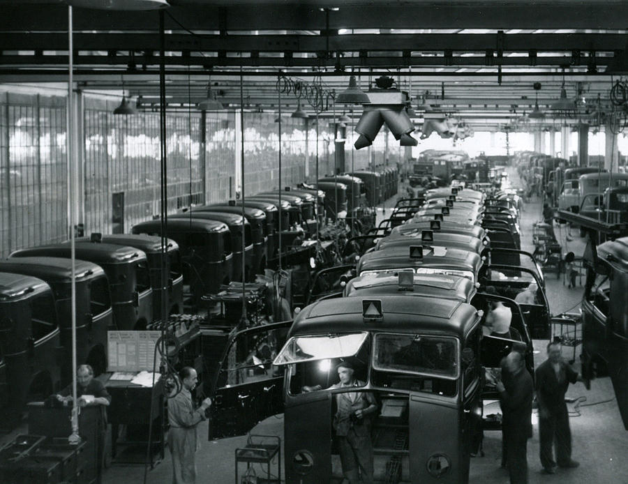 Retro Images Archive Photograph - Automobile Factory Workers by Retro Images Archive