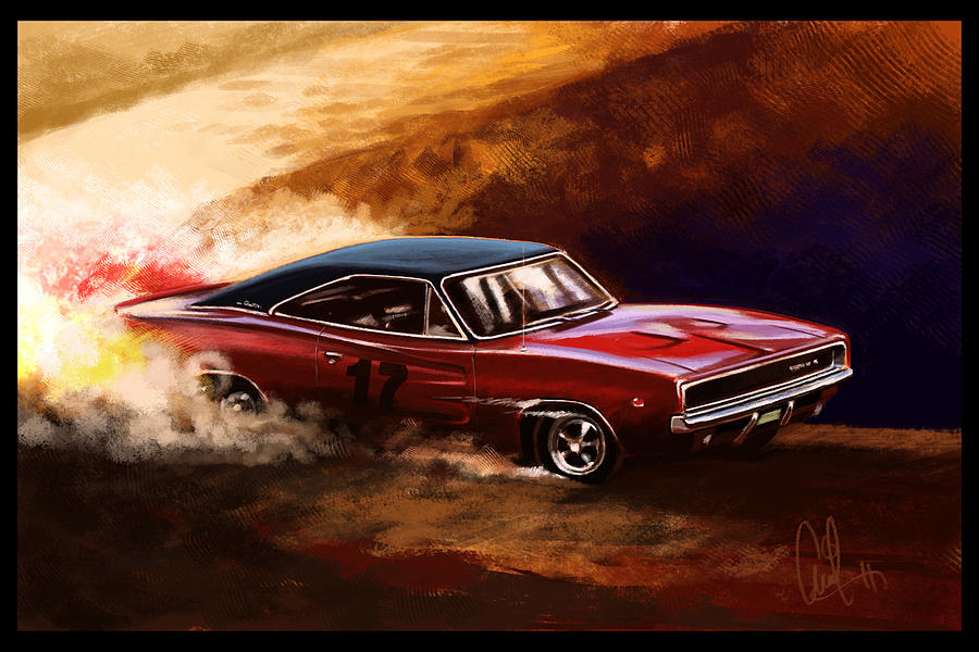 Automotive Art Muscle Car 1968 Charger Digital Art By Arvind Ramkrishna
