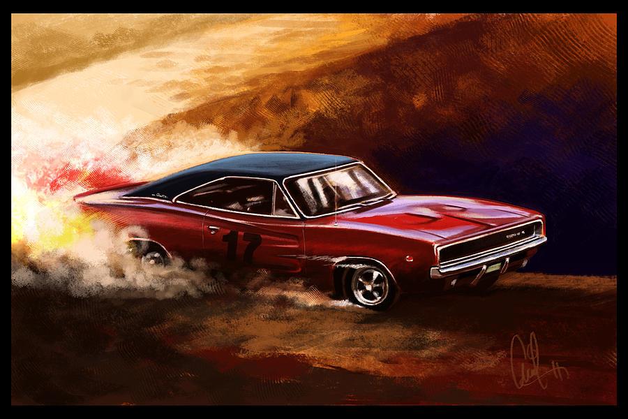 Automotive Art Muscle Car 1968 Charger Digital Art By