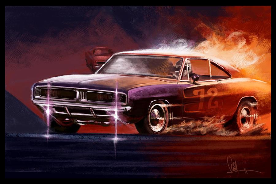 Automotive Art Muscle Car 1969 Charger Digital Art By Arvind Ramkrishna