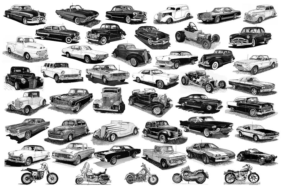Framed Poster Of Cars & Motorcycles In Black & White Drawing - Automotive Pen And Ink Poster by Jack Pumphrey
