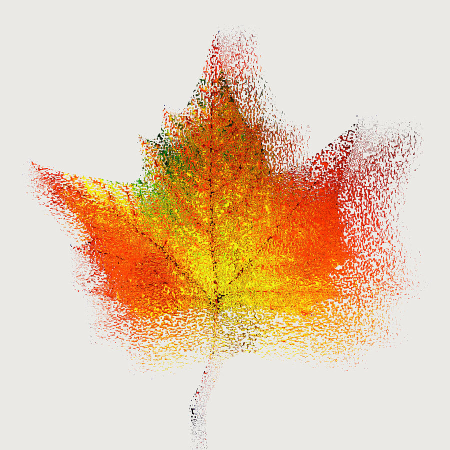 Nature Photograph - Autumn Abstract Colorful Orange Green Yellow Nature Fine Art Photograph Digital Painting by Artecco Fine Art Photography