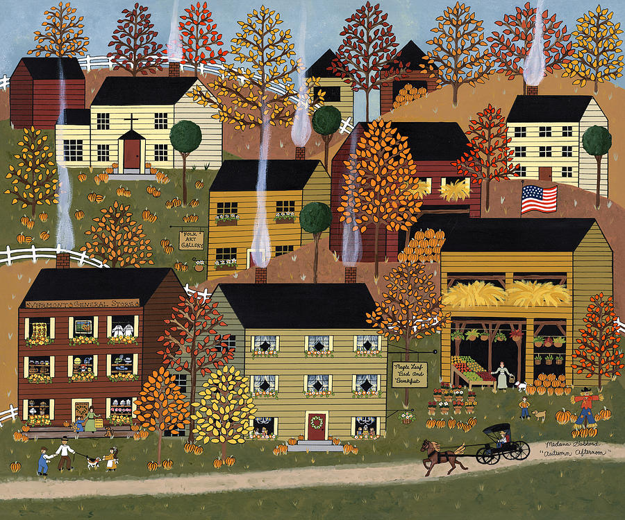 Folk Art Painting - Autumn Afternoon by Medana Gabbard