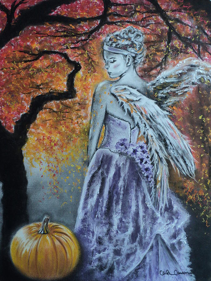 Angel Drawing - Autumn Angel by Carla Carson