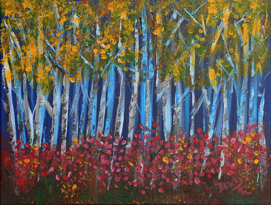 Autumn Painting - Autumn Aspens by Donna Blackhall