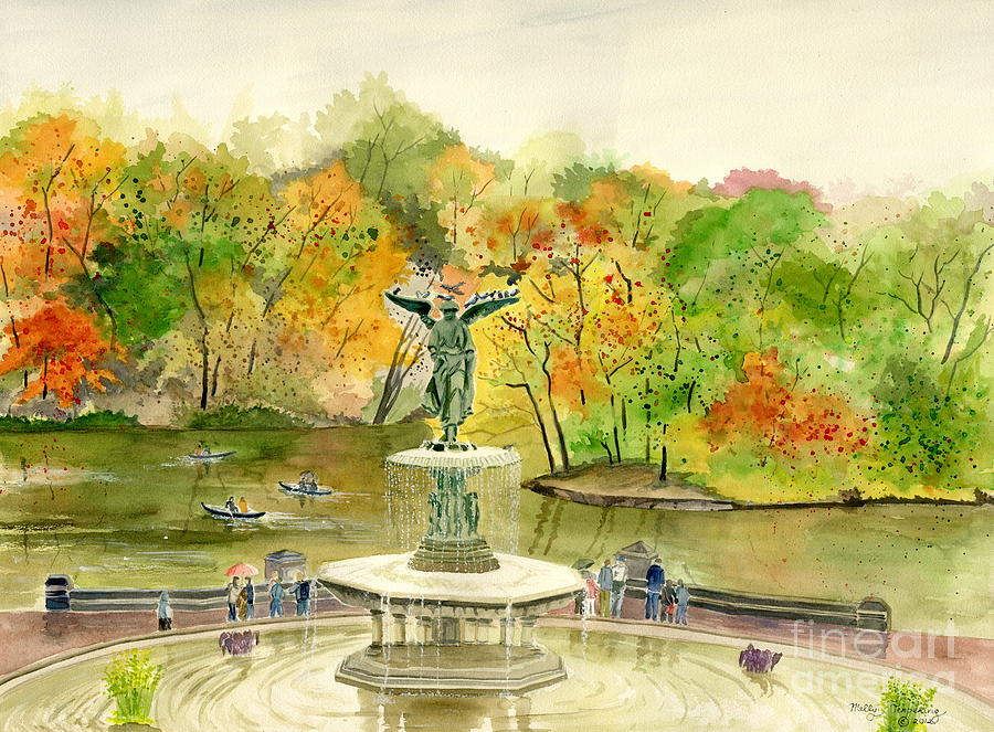 Central Park Painting - Autumn At Central Park Ny by Melly Terpening