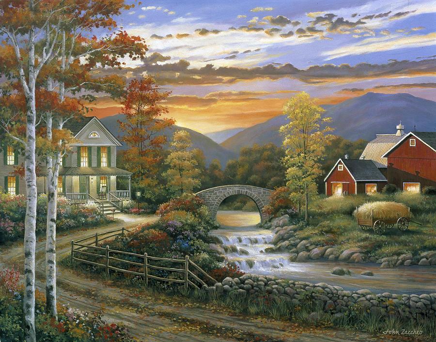 Pallet Painting - Autumn Barn by John Zaccheo
