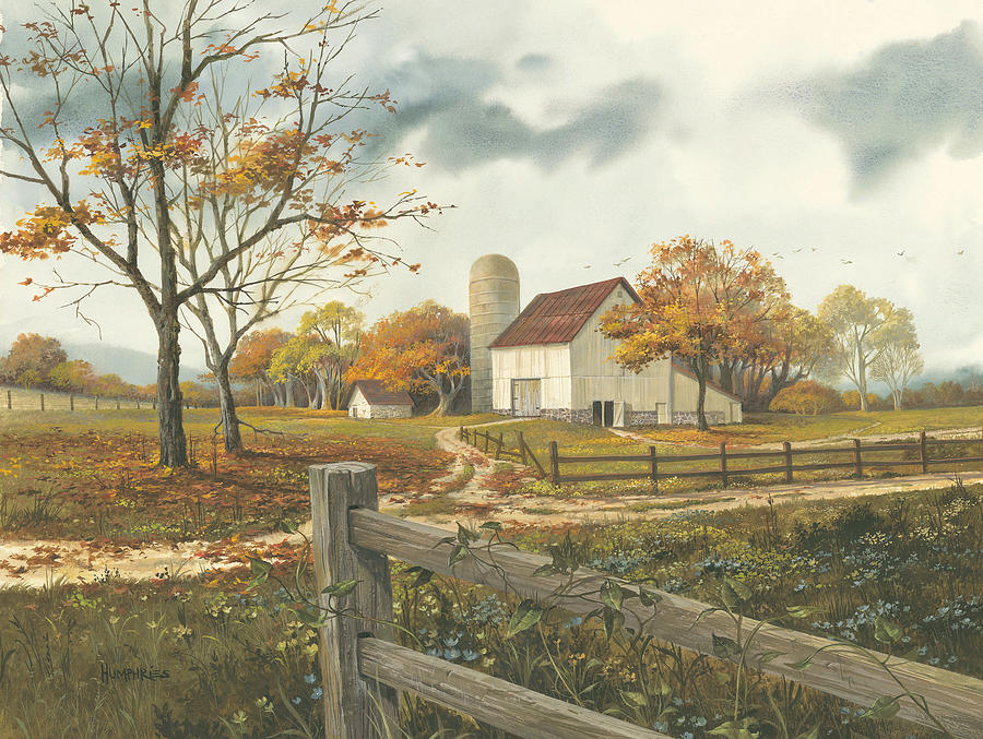 Autumn Barn Painting By Michael Humphries