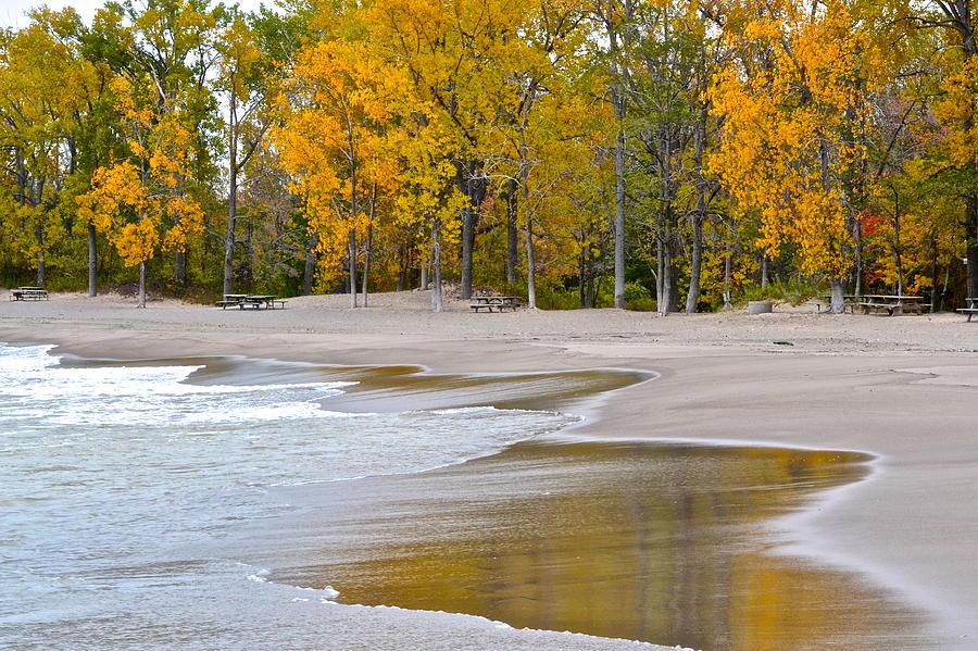 Autumn Photograph - Autumn Beach by Frozen in Time Fine Art Photography
