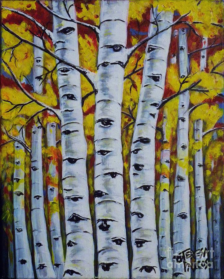 Autumn Birch Trees Painting By Teresa Pascos