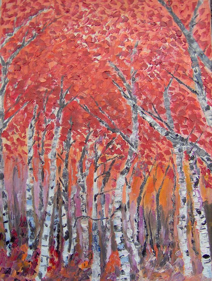 Autumn Painting - Autumn Birches by Maria Karalyos