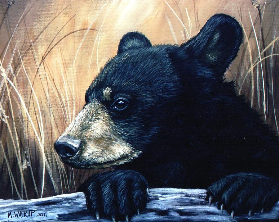 Autumn Black Bear Cub Painting by Misty Walkup