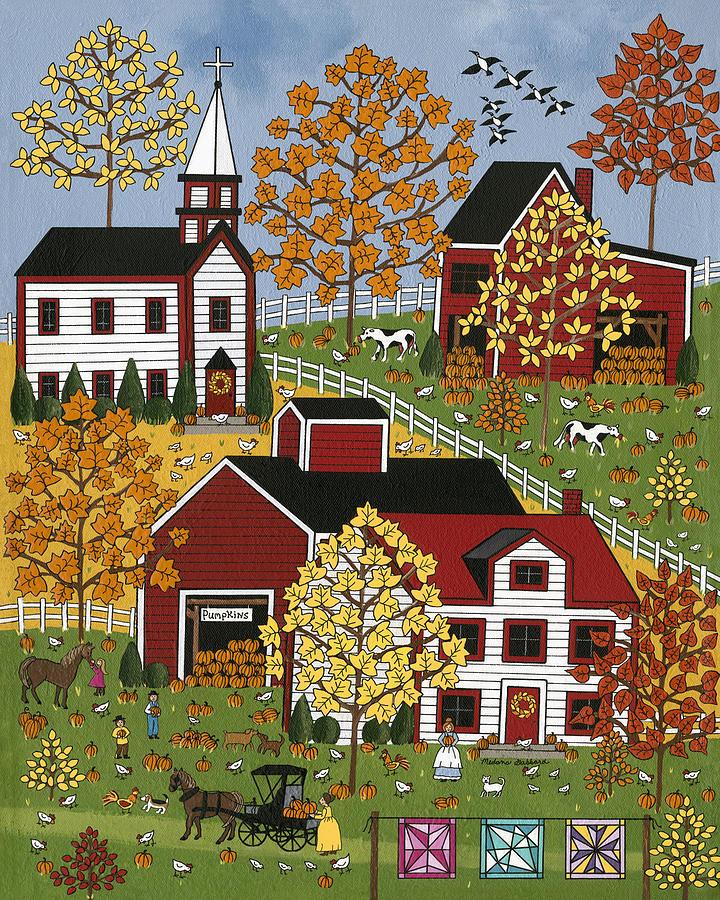 Folk Art Painting - Autumn Blessings by Medana Gabbard