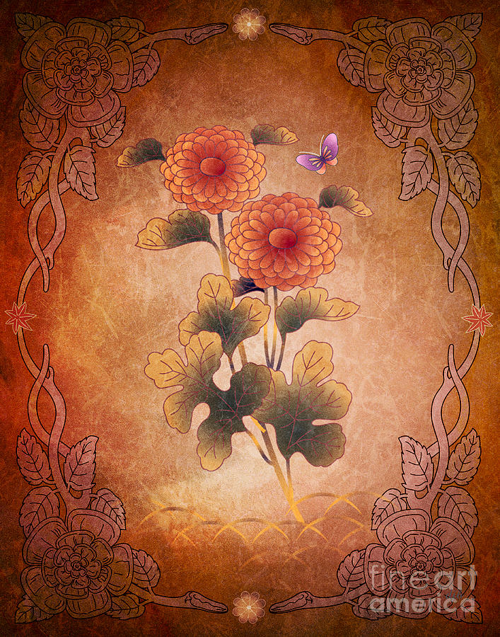 Autumn Digital Art - Autumn Blooming Mum by Peter Awax
