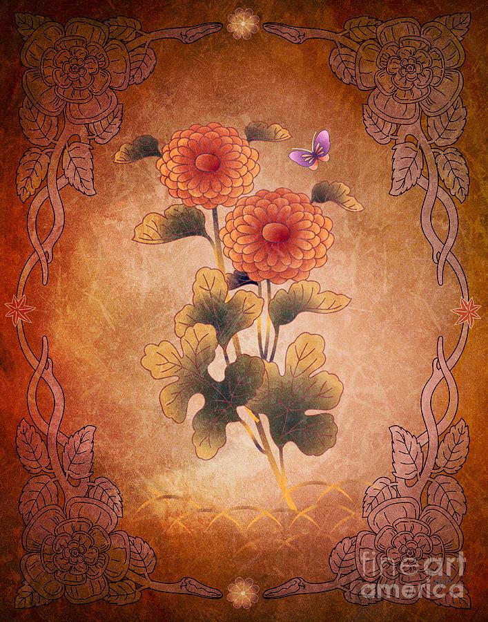 Autumn Digital Art - Autumn Blooming Mum by Peter Awax