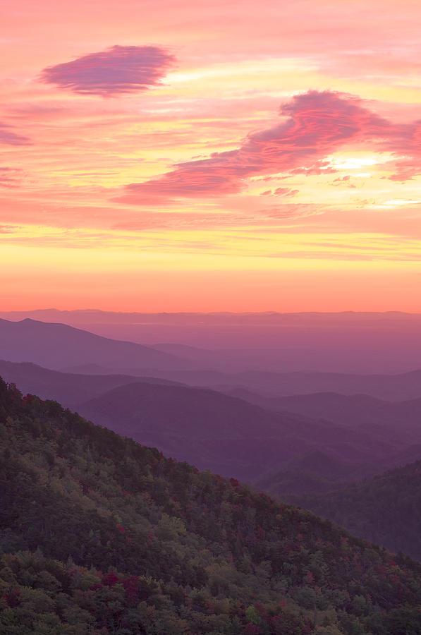 Green Photograph - Autumn Blue Ridge Sunrise by Photography  By Sai