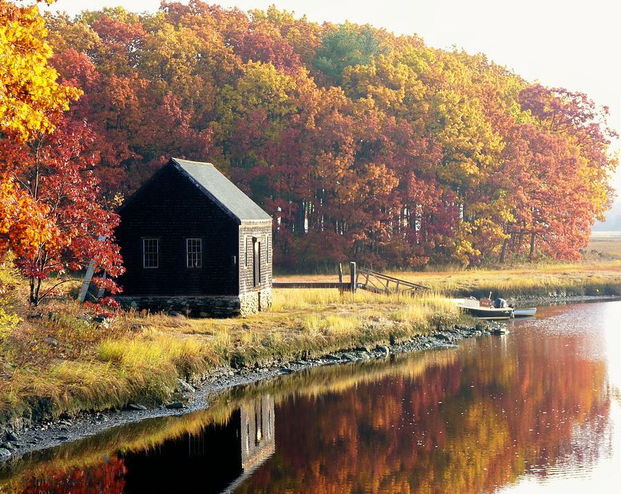 Autumn Landscape Photograph - Autumn Boathouse by Elaine Franklin