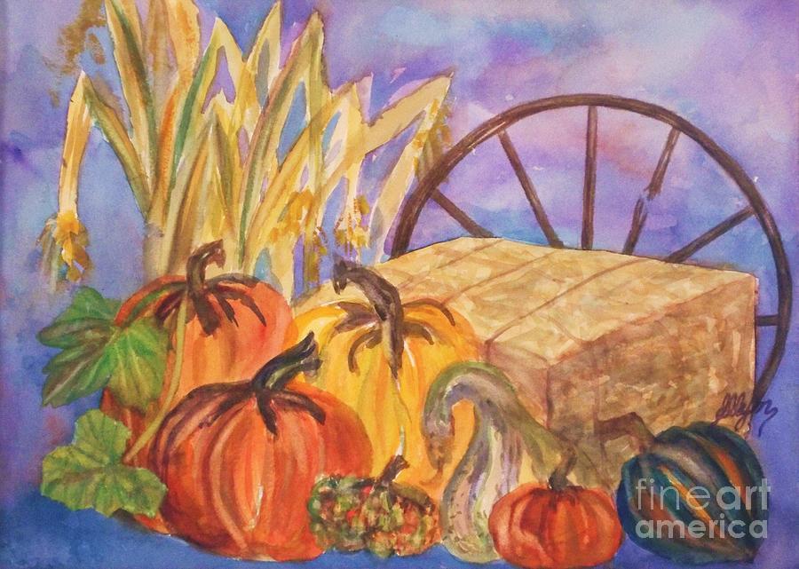 Acorn Squash Painting - Autumn Bounty by Ellen Levinson