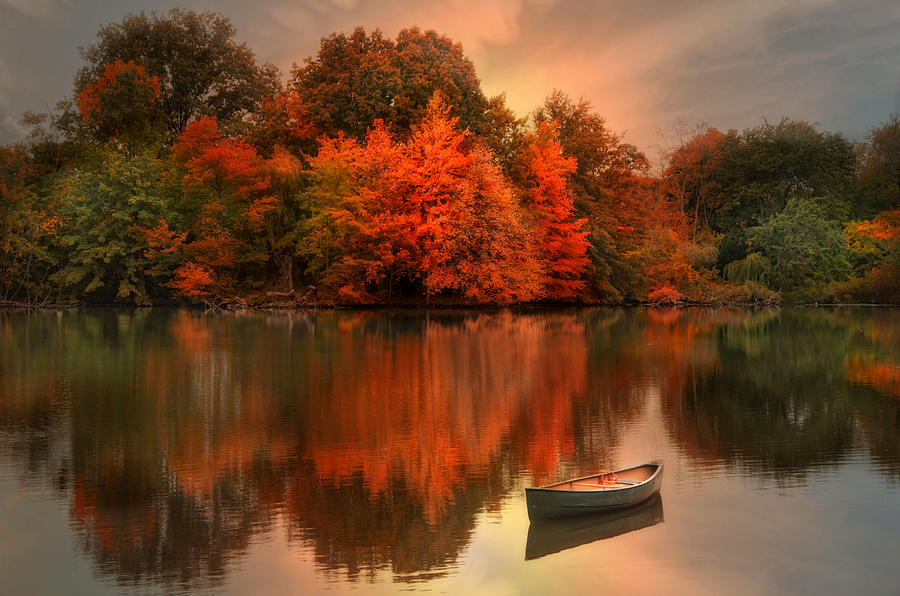 Canoe Photograph - Autumn Canoe by Robin-Lee Vieira