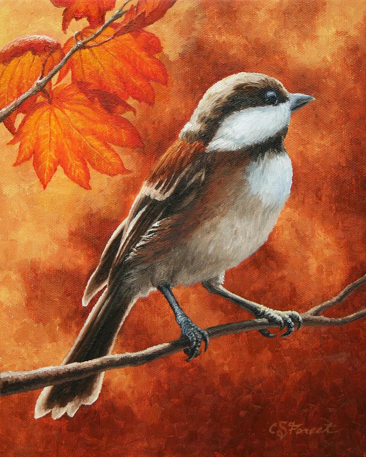 Bird Painting - Autumn Chickadee by Crista Forest