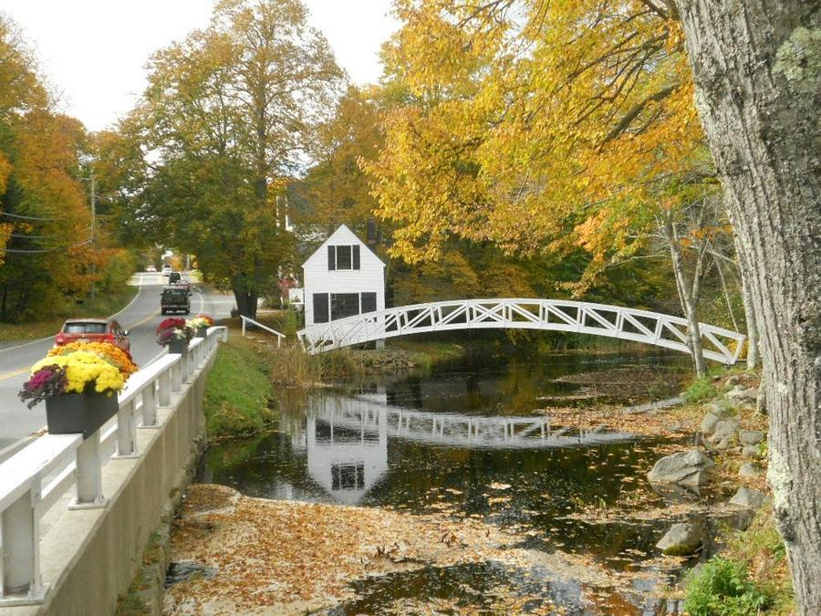 Autumn Photograph - Autumn Colors At Somesville Bridge Mount Desert Island Maine by Lena Hatch