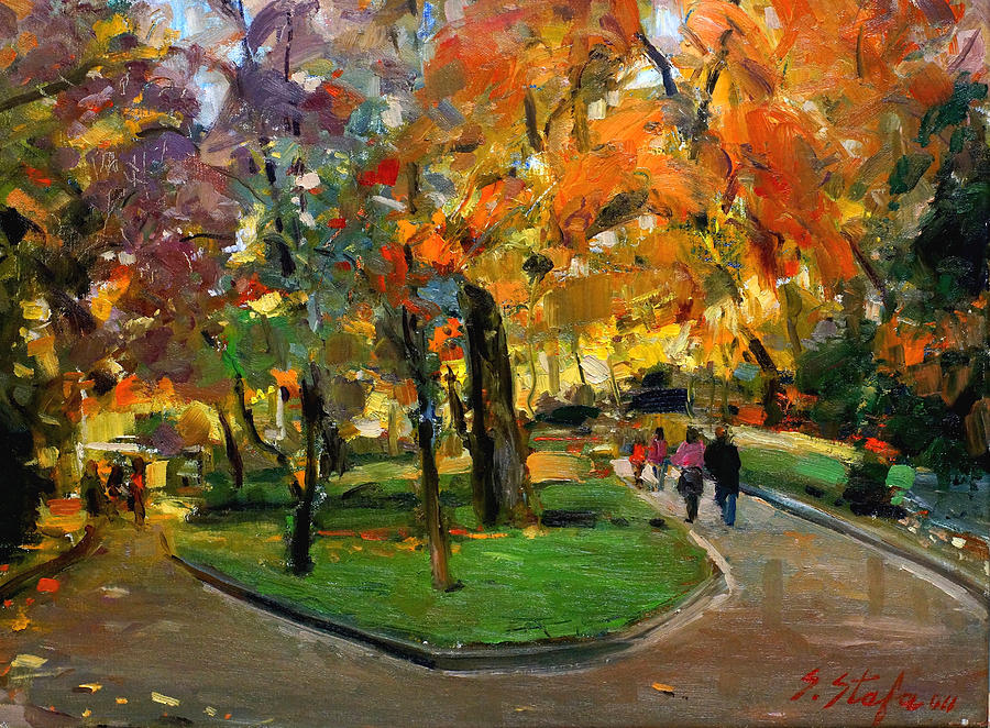 Autumn Painting - Autumn Colors - Lugano by Sefedin Stafa