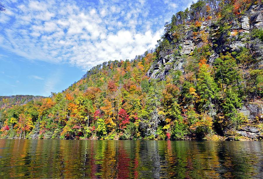 Nature Photograph - Autumn Colors On A Lake by Susan Leggett