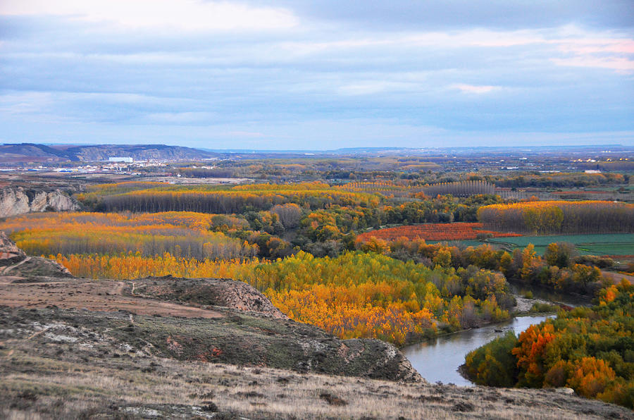 Color Photograph - Autumn Colors On The Ebro River by RicardMN Photography