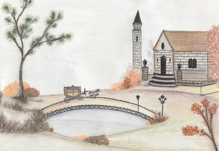 Autumn Landscape Drawing - Autumn Countryside   by Christine Corretti