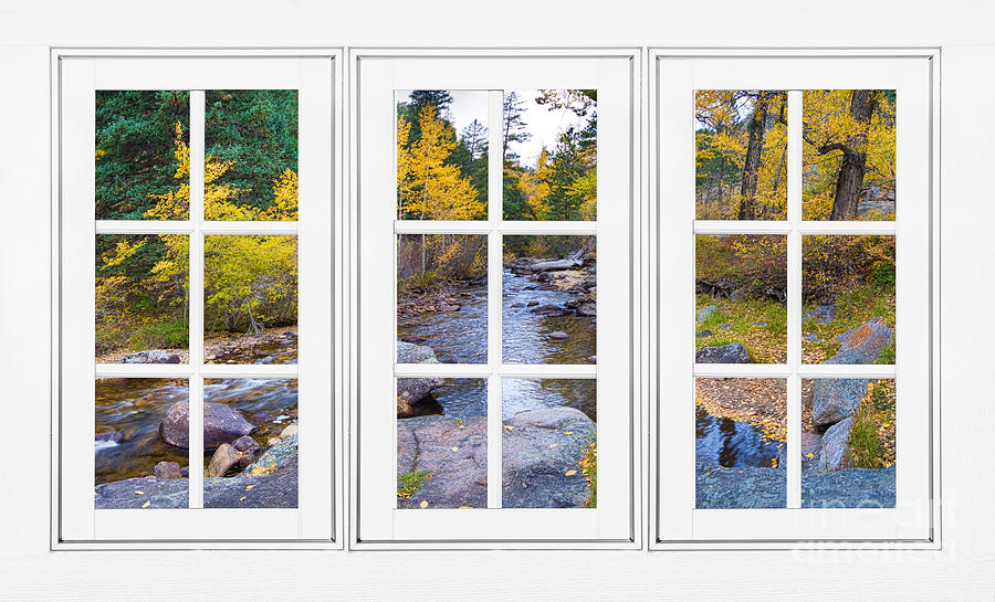 Windows Photograph - Autumn Creek White Picture Window Frame View by James BO  Insogna