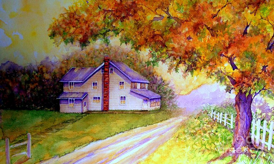 Farmhouse Painting - Autumn Days Down The Lane by Janine Riley