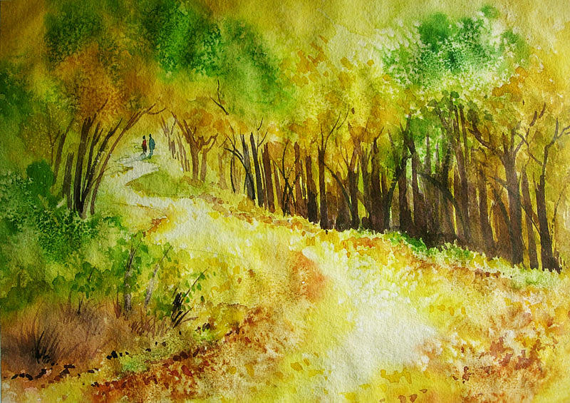 Landscape Painting - Autumn by Deepali Sagade