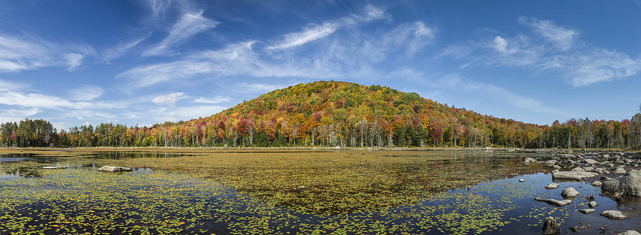 Vermont Photograph - Serene Pond Vermont Autumn Panorama by Andy Gimino