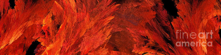 Abstract Digital Art - Autumn Fire Abstract Pano 2 by Andee Design