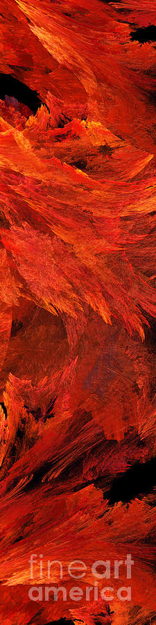Abstract Digital Art - Autumn Fire Pano 2 Vertical by Andee Design