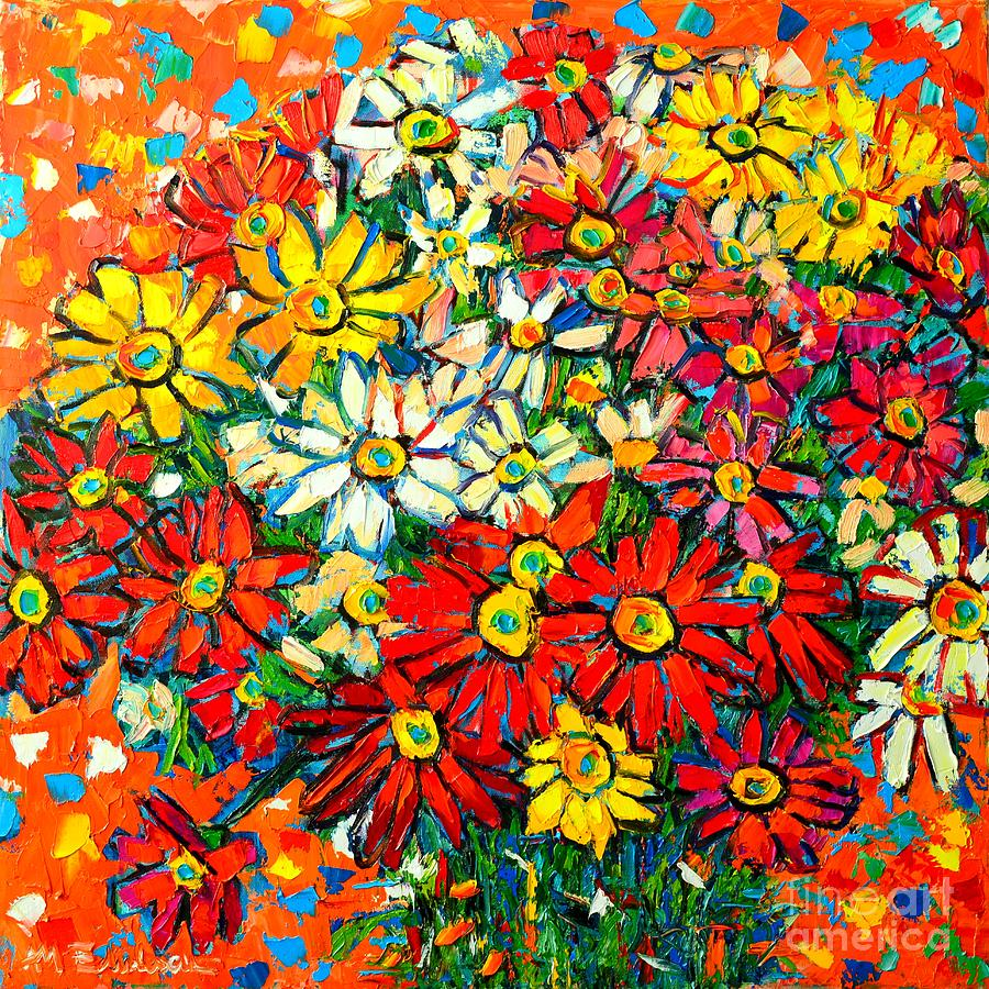 Daisies Painting - Autumn Flowers Colorful Daisies  by Ana Maria Edulescu