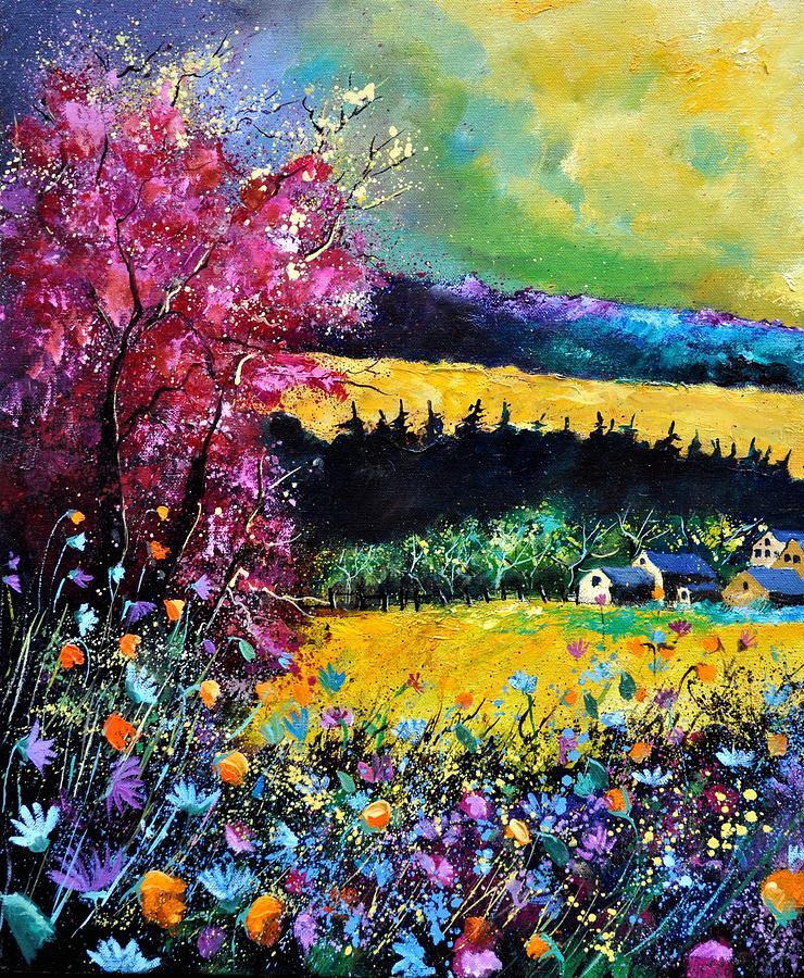 Landscape Painting - Autumn Flowers by Pol Ledent