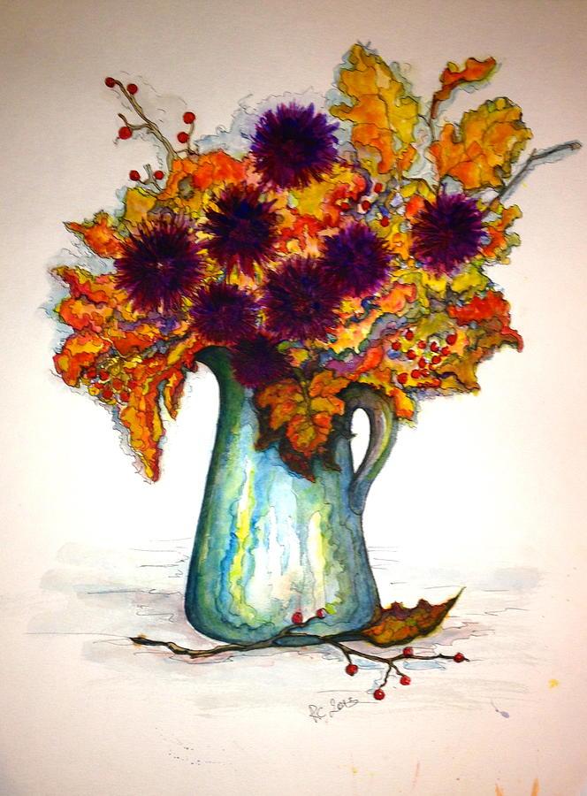 Flower Arrangement Painting - Autumn Foilage by Rae Chichilnitsky