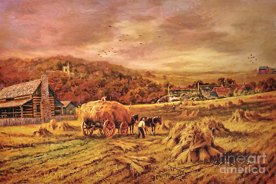 Autumn Folk Art - Haying Time by Lianne Schneider