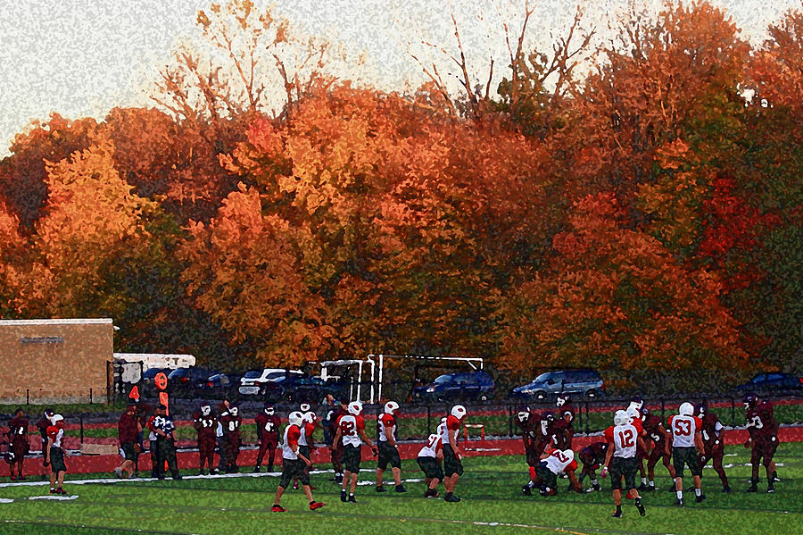 Autumn Football With Sponge Painting Effect Photograph By