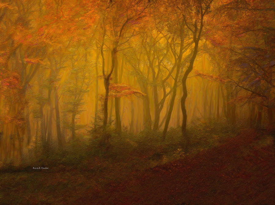 Autumn Forest In Misty Afternoon Light Painting