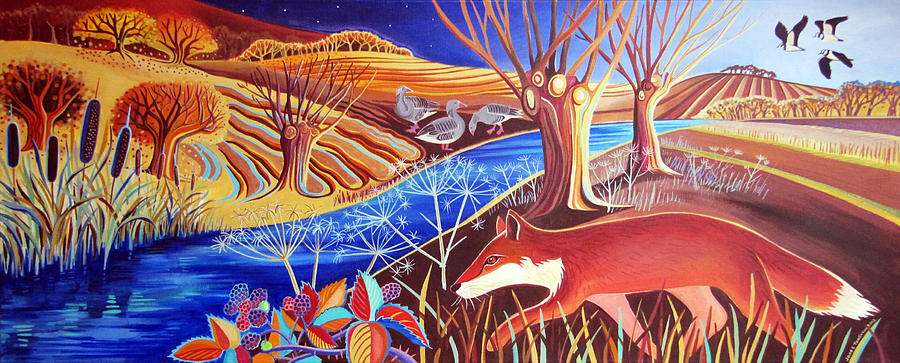 Fox Painting - Autumn fox by Jane Tomlinson