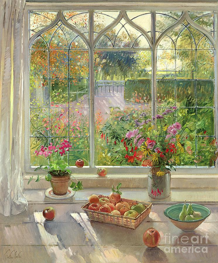 Fruits Painting - Autumn Fruit And Flowers by Timothy  Easton