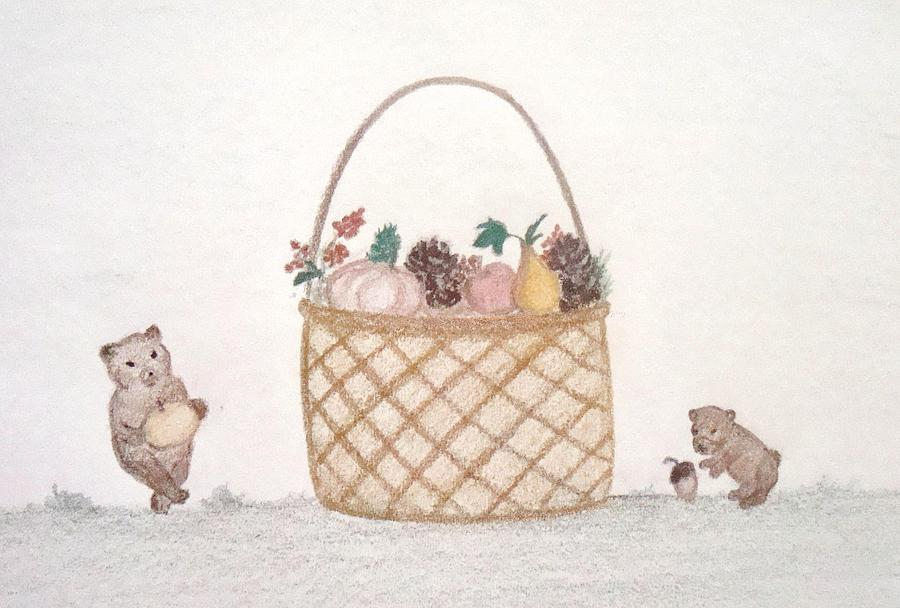 Teddy Bears Drawing - Autumn Fruit Basket And Bears by Christine Corretti