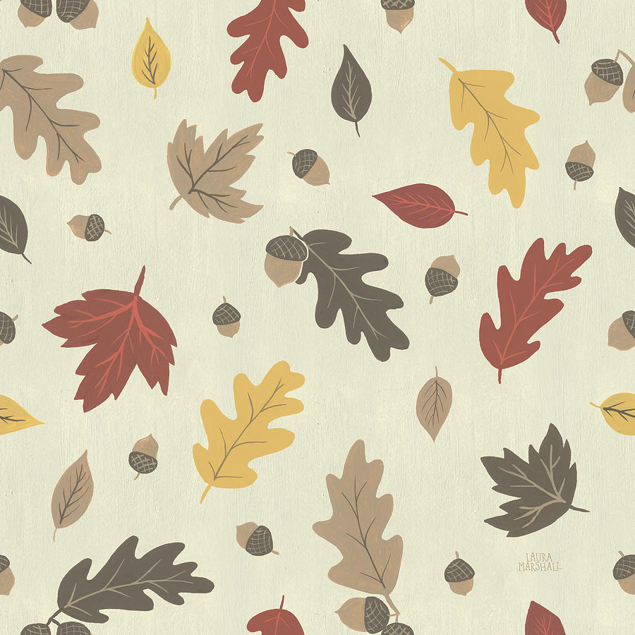 Acorns Painting - Autumn Garden Pattern Iva by Laura Marshall