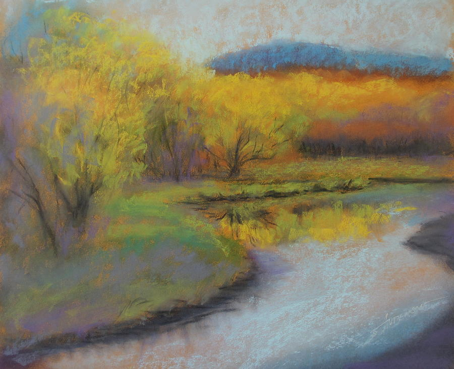 Landscape Painting - Autumn Glow At Catfish Corner by Sherri Anderson
