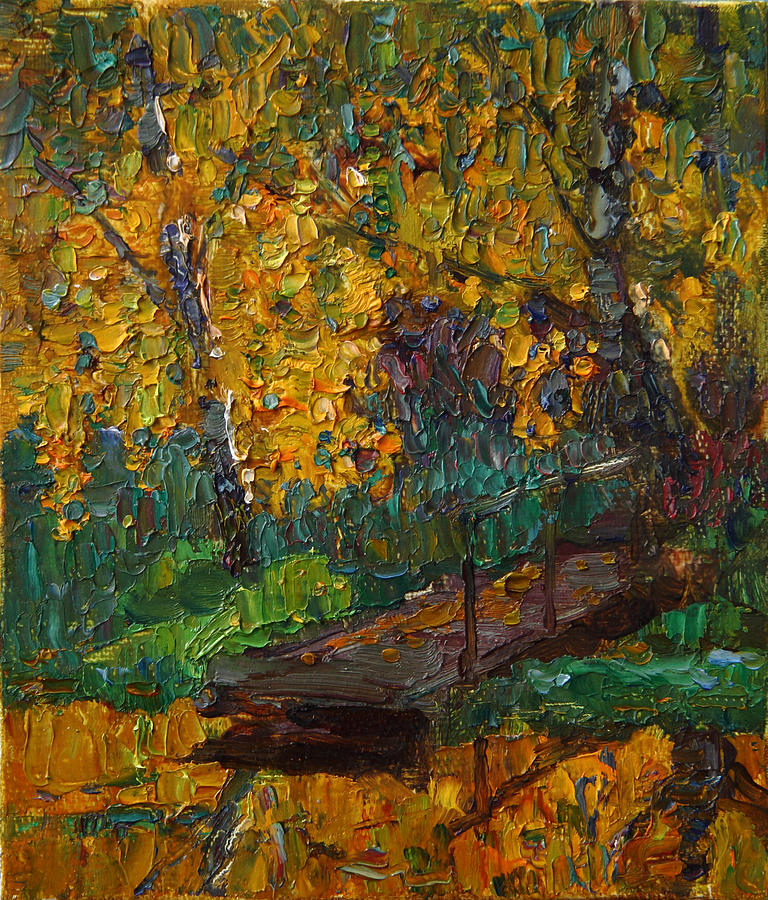 Pond Painting - Autumn Gold by Korobkin Anatoly