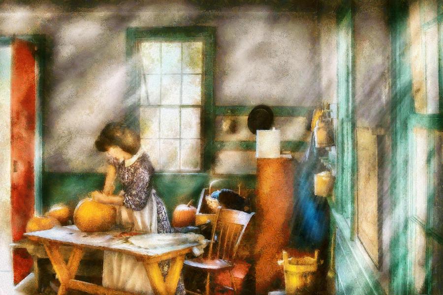 Savad Digital Art - Autumn - Halloween - Carving A Pumpkin by Mike Savad